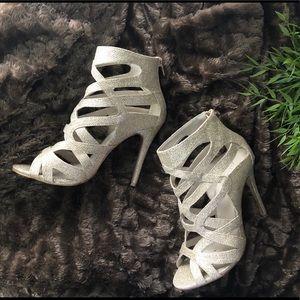 ALDO Open Toe Cage Detail Gold Heels Size 8